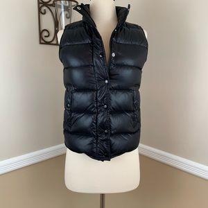 J Crew Shiny Puffer Vest Down Feather Black